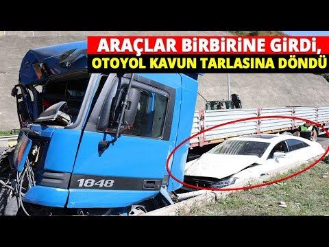 Bolu TEM'de Kaza! Araçlar Birbirine Girdi, Otoyol Kavun Tarlasına Döndü