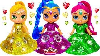 Shimmer and Shine Dress Up ✨ New Play Doh Super Sparkle Dresses for Dolls | DIY for Kids