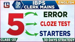 Error | Cloze Test | Starters | IBPS Clerk Mains 2018-19 | English | 1:00 pm