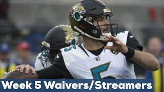 Fantasy Football Week 5: Waivers, Streaming QBs & Defenses