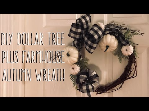 DIY Dollar Tree  Plus Farmhouse  Autumn Wreath