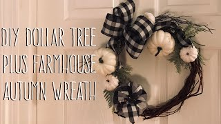 DIY Dollar Tree  Plus Farmhouse  Autumn Wreath