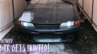 1990 r32 nissan skyline gtr gets painted!DIY paint booth!!