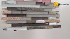 Slate Glass Mosaic Tile Linear White - 230SC304B
