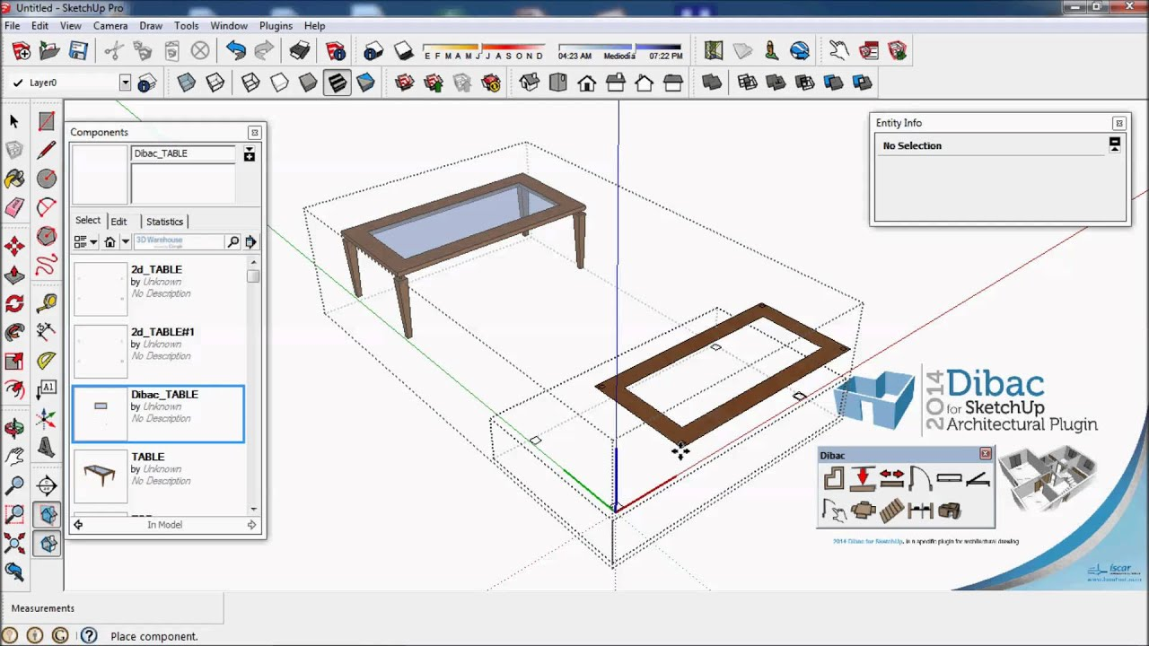 2014 DIBAC FOR SKETCHUP. TUTORIAL 009B.. CREATE 2014 DIBAC COMPONENT 3D AND MODIFY ONLY 2D ...