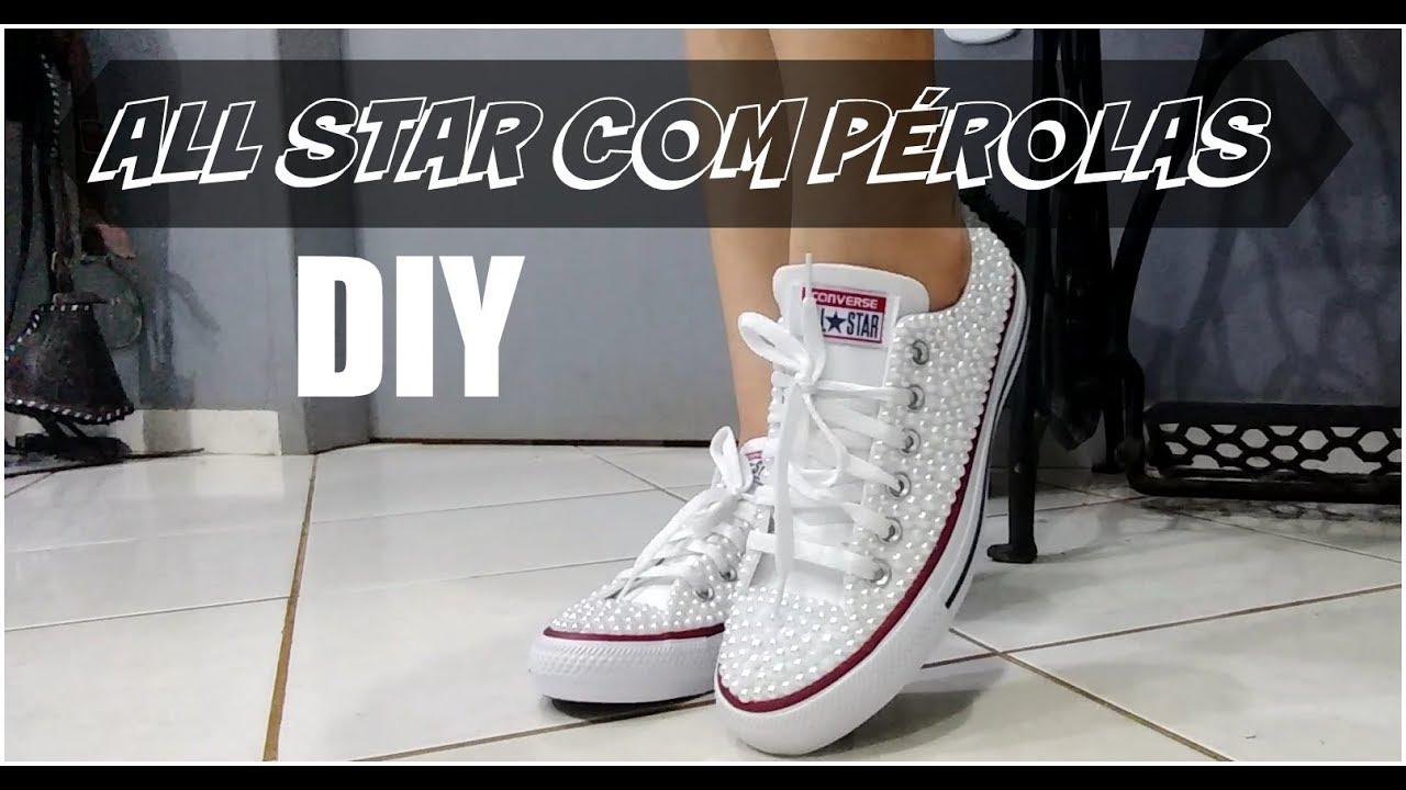 3a11acc08fb9 DIY CUSTOMIZAÇÃO TÊNIS ALL STAR COM PÉROLAS LETICIA ARTES - YouTube