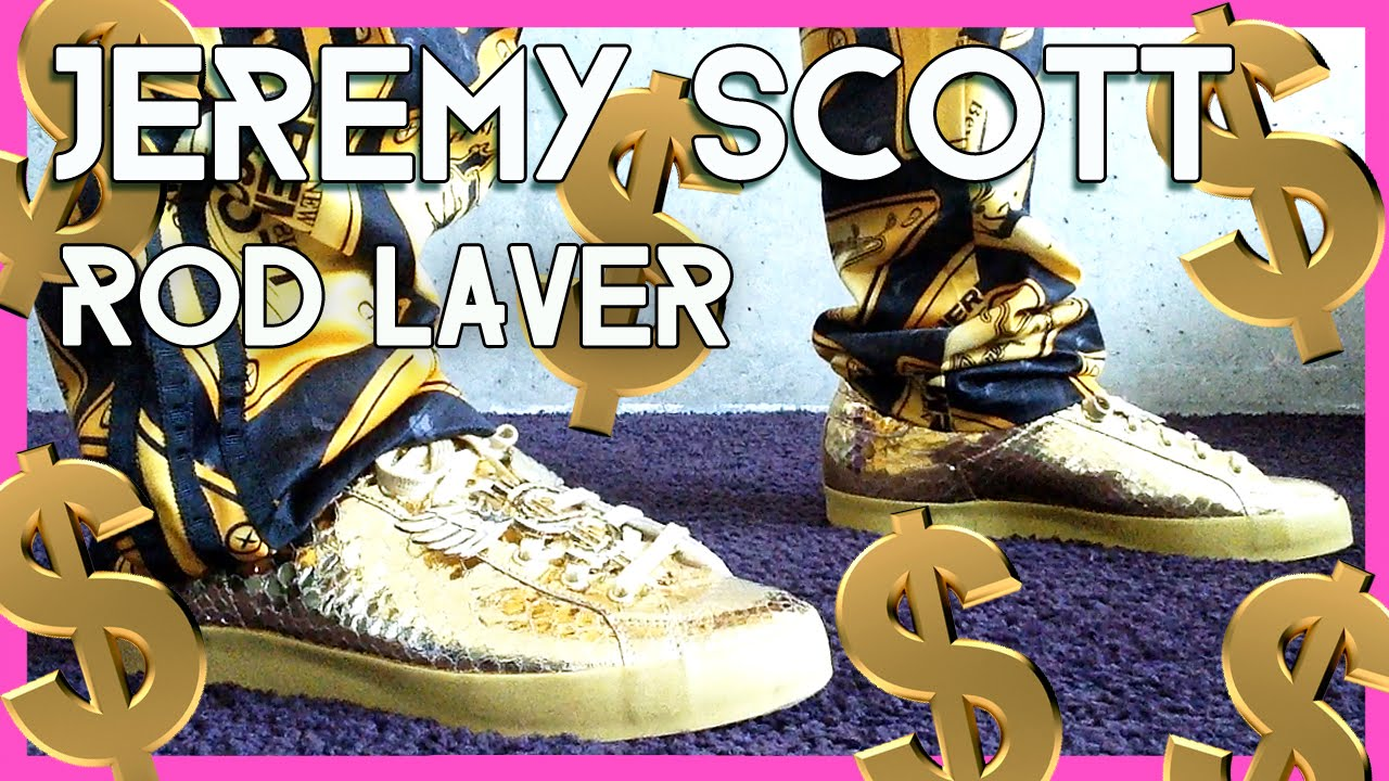 bac5227bbd73 JEREMY SCOTT Rod Laver on feet - is whatever shines GOLD  - YouTube