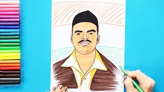 How to draw and color Rajguru - Indian Freedom Fighters