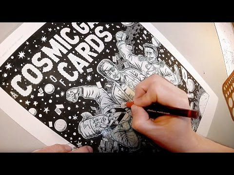 4 Hours of Inking and Lettering a Comic Splash Page