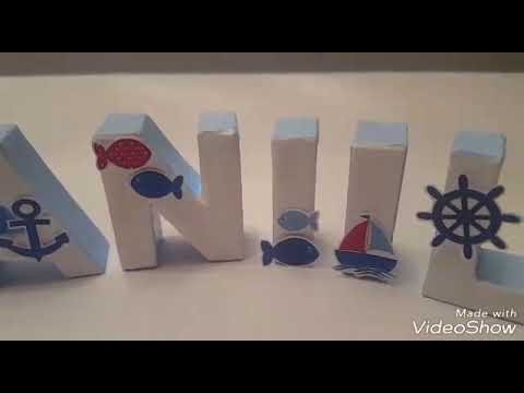 Buchstaben aus Pappe schön gestalten, Name für Kinderzimmer
