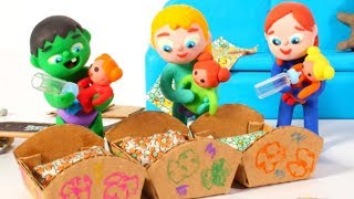 SUPERHERO BABIES PLAYING WITH DOLLS ❤ SUPERHERO PLAY DOH CARTOONS FOR KIDS