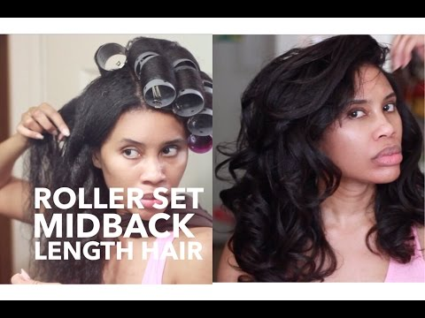 Roller Set on MidBack Length Hair