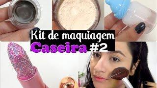 kit de maquiagem caseira 2 batom glitter pasta de sobrancelha demaquilante p translcido