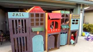Cool Homemade Kid-sized Kids Cardboard Town