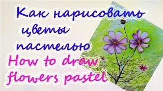 Как нарисовать цветы пастелью  Рисование  для детей  Цуканова Виктория