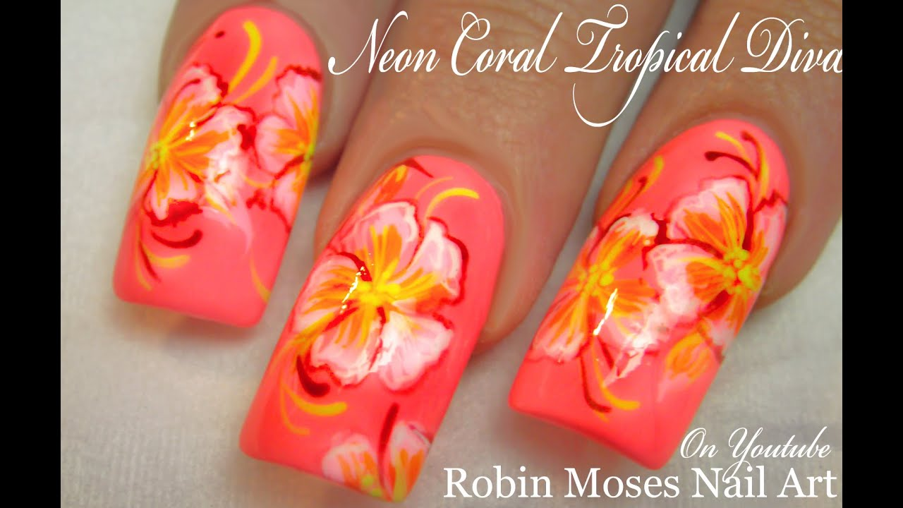 Neon Hot Bright Coral Diva Nails