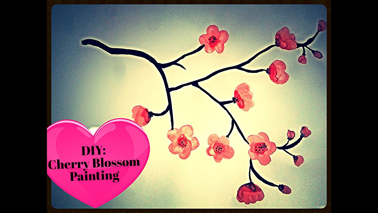 Cherry Blossom Painting DIY Easy To Make.. - YouTube