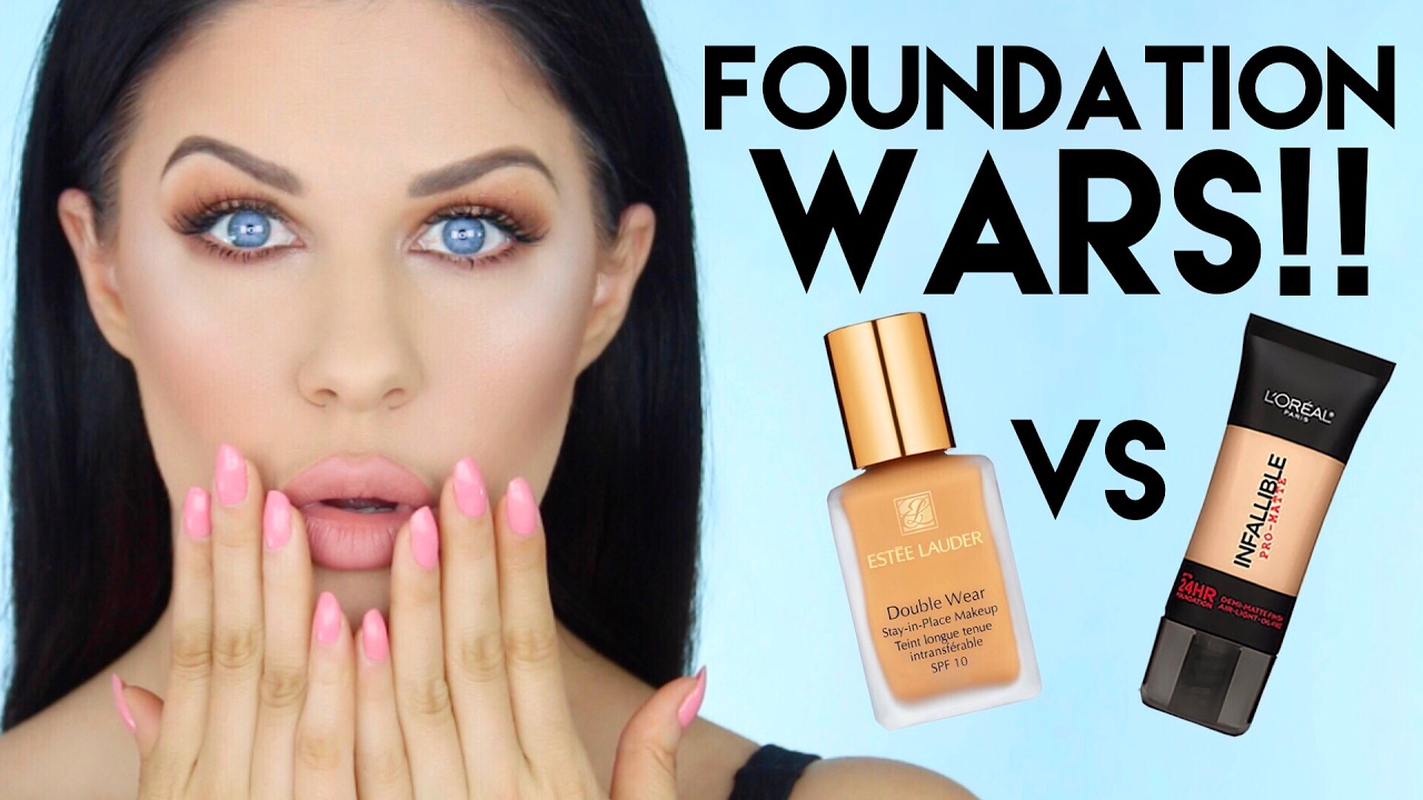 ESTEE LAUDER DOUBLE WEAR VS L'OREAL PRO MATTE FOUNDATION!!