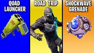 Road Trip Skin Worth It? Legendary SHOCKWAVE Grenade, QUAD LAUNCHER (Fortnite Leaks) Chaos