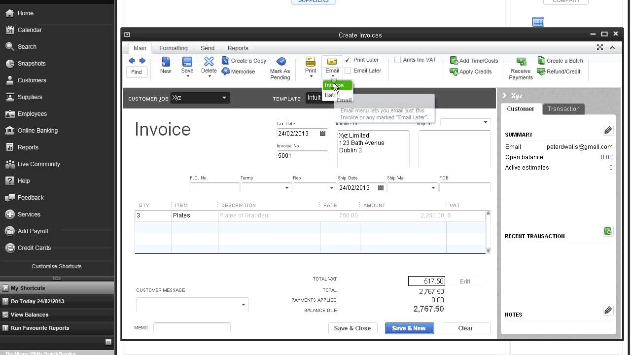 Create A Customer Invoice From Scratch In QuickBooks Pro UK - How to create an invoice in quickbooks