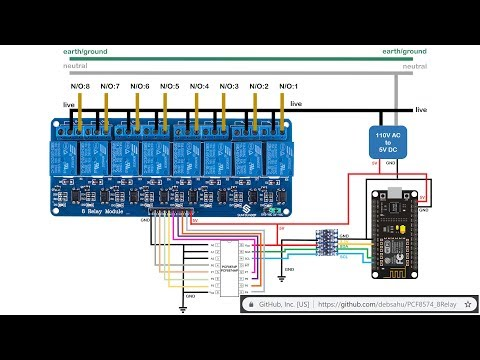 ESP8266/32 (Home Assistant Switch) Connected To PCF8574 Controlling 8 AC Relays