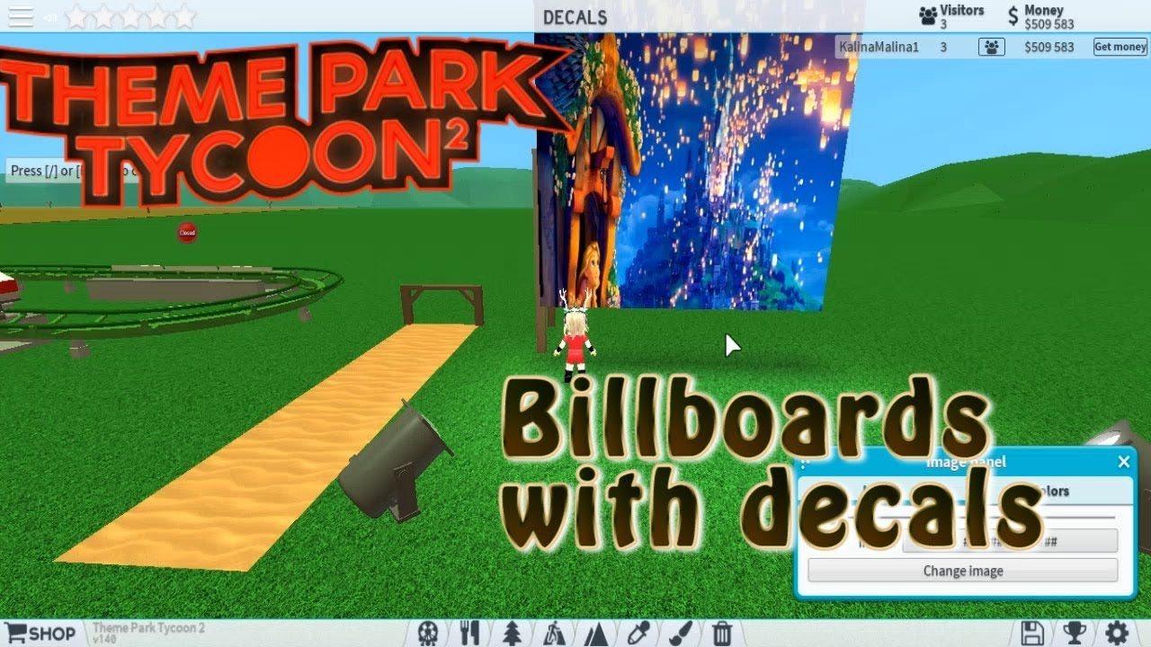 Billboards and Decals in theme park tycoon 2 | How to build billboard with  decals