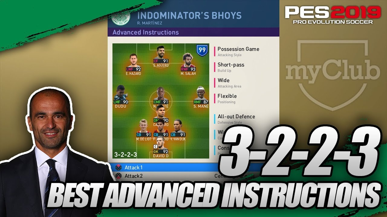 PES 2019 | MYCLUB - Best Advanced Instructions For 3-2-2-3 (R  Martinez) by  IndominatorTV