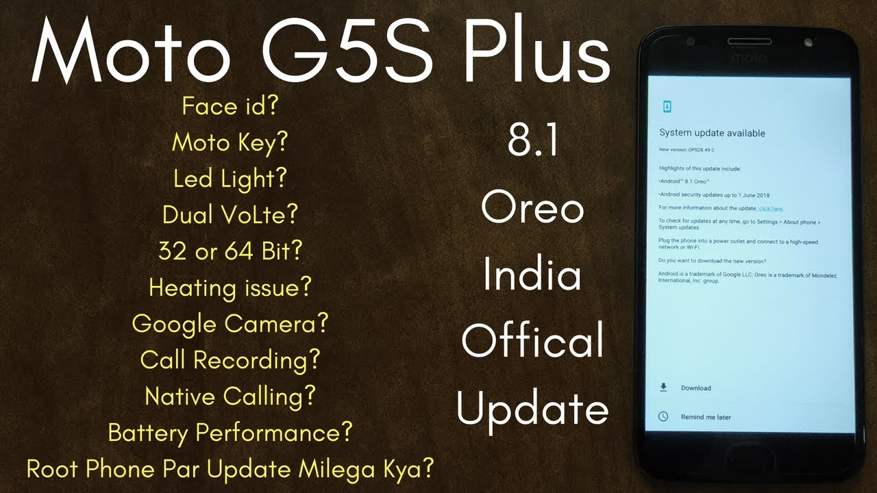 Moto G5S Plus Official 8 1 Oreo Update All Doubts Clear | Hindi