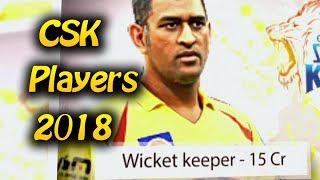Csk Players 2018 list