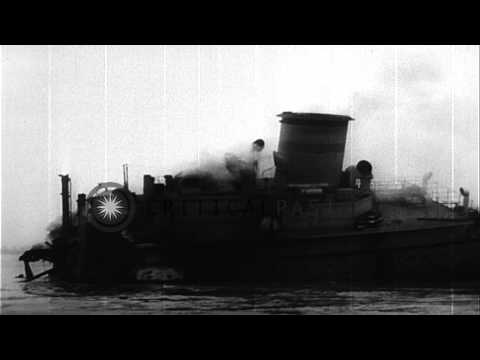 A navy tanker hits a freighter in Delaware River, Delware. HD Stock Footage