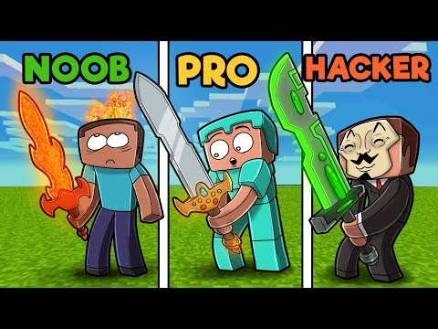 Minecraft - NOOB vs PRO vs HACKER - SWORDS!