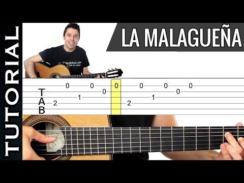 Como tocar LA MALAGUEÑA en guitarra tutorial completo MUY FACIL Y DIVERTIDO