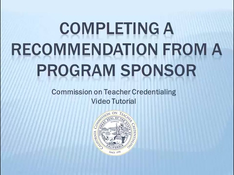 Completing a Recommendation from a Program Sponsor Online