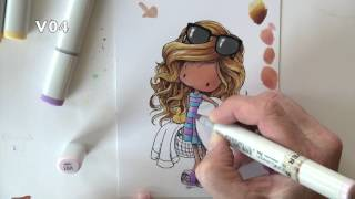 Coloring a Summer Tiddly Ink Image with Copics