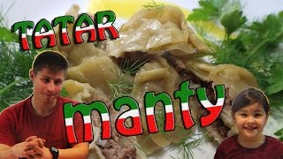 Manty. Steamed Dumplings. Traditional Tatar dish.
