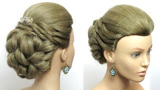 Bridal Prom Hairstyle For Long Hair Tutorial. Easy Wedding Updo.