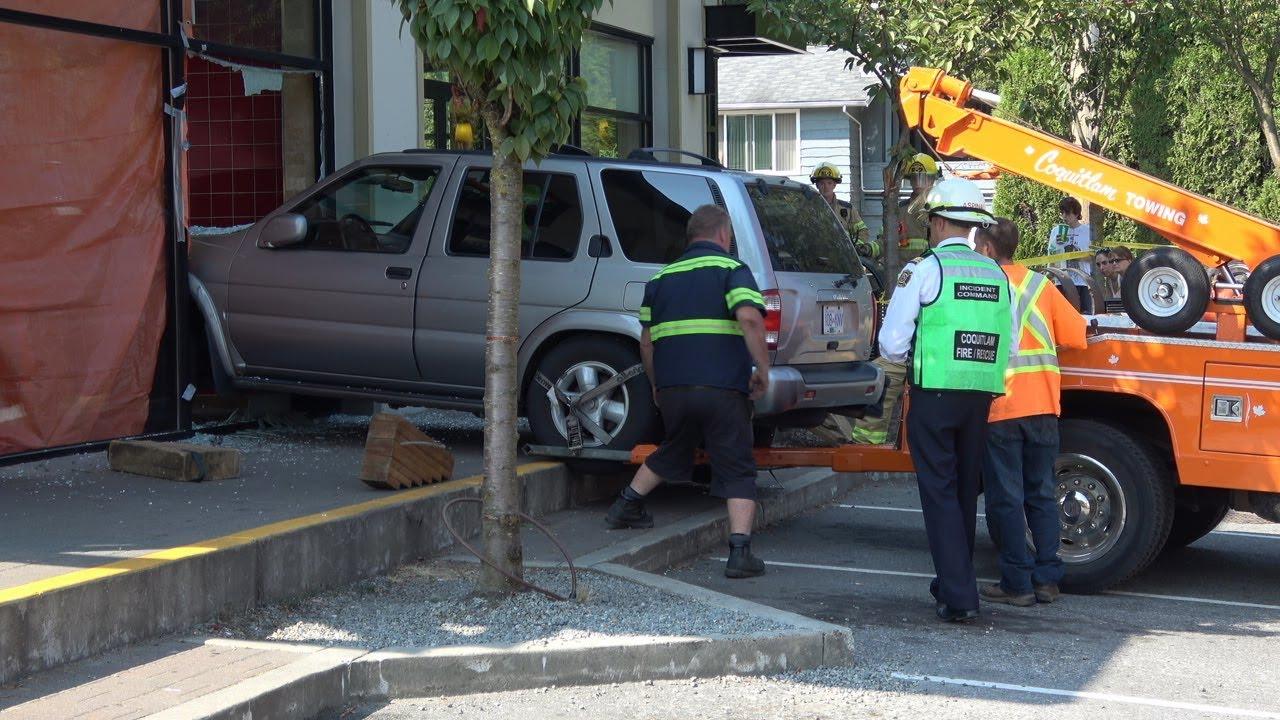 vehicle crashed into pizza one restaurant como lake ave. coquitlam