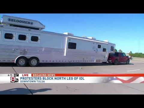 Truck And Trailer Drive Through Crowd Protesting In Tulsa On Live TV