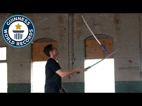 Josh Horton attempts an incredible katana juggling record title! - Guinness World Records