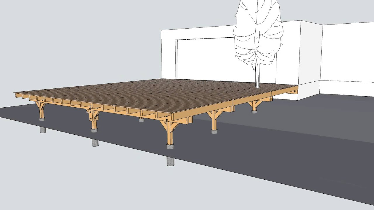 Terrasse sur pilotis vid o de la structure youtube for Plan de patio exterieur en bois