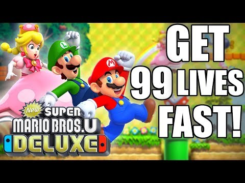 HOW TO Get 99 Lives FAST in New Super Mario Bros. U Deluxe for Nintendo Switch