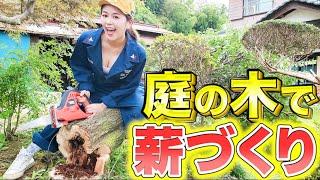 大切に育てた梅の木をキャンプ用の薪にする!え?薪作りってこんなに大変なの?電ノコの限界