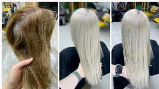 Бежевый блондин Как осветлить темно русые волосы с сединой и затонировать Блонд без порошка