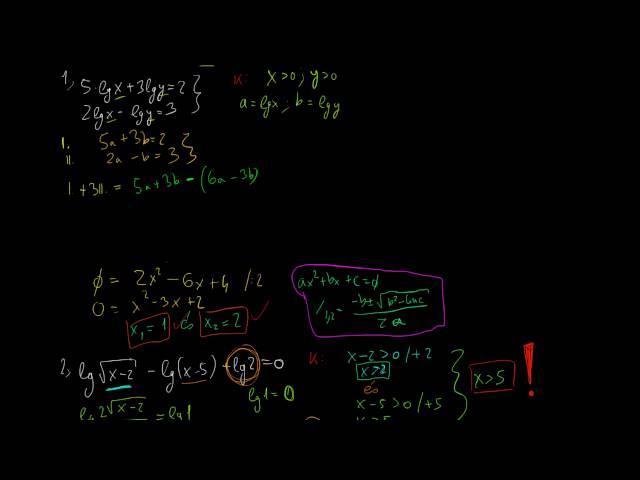 Logaritmikus egyenletek és egyenlőtlenségek 4