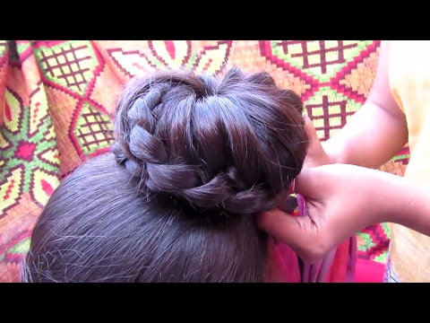 Simple Lace  Braid Bun Hairstyle    Indian...