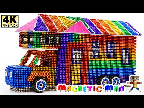 DIY - How To Build House Truck From Magnetic Balls (Magnet ASMR) | Magnetic Man 4K