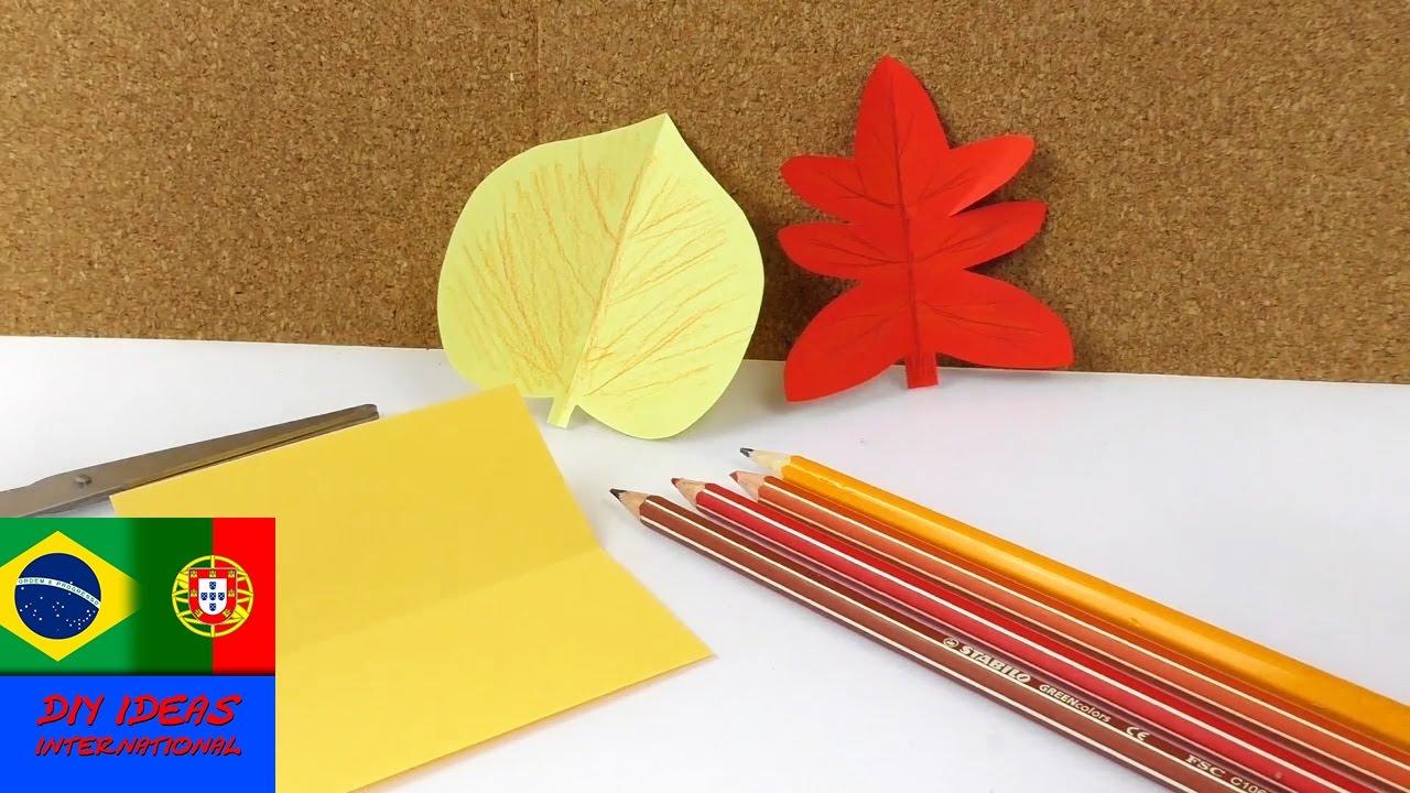 Faça folhas de outono de papel para decoraç u00e3o YouTube -> Decoração Festa Folhas De Outono