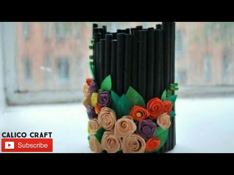 Paper flower vase/news paper craft/handmade craft/#calico craft/paper wall hanging/diy simple craft