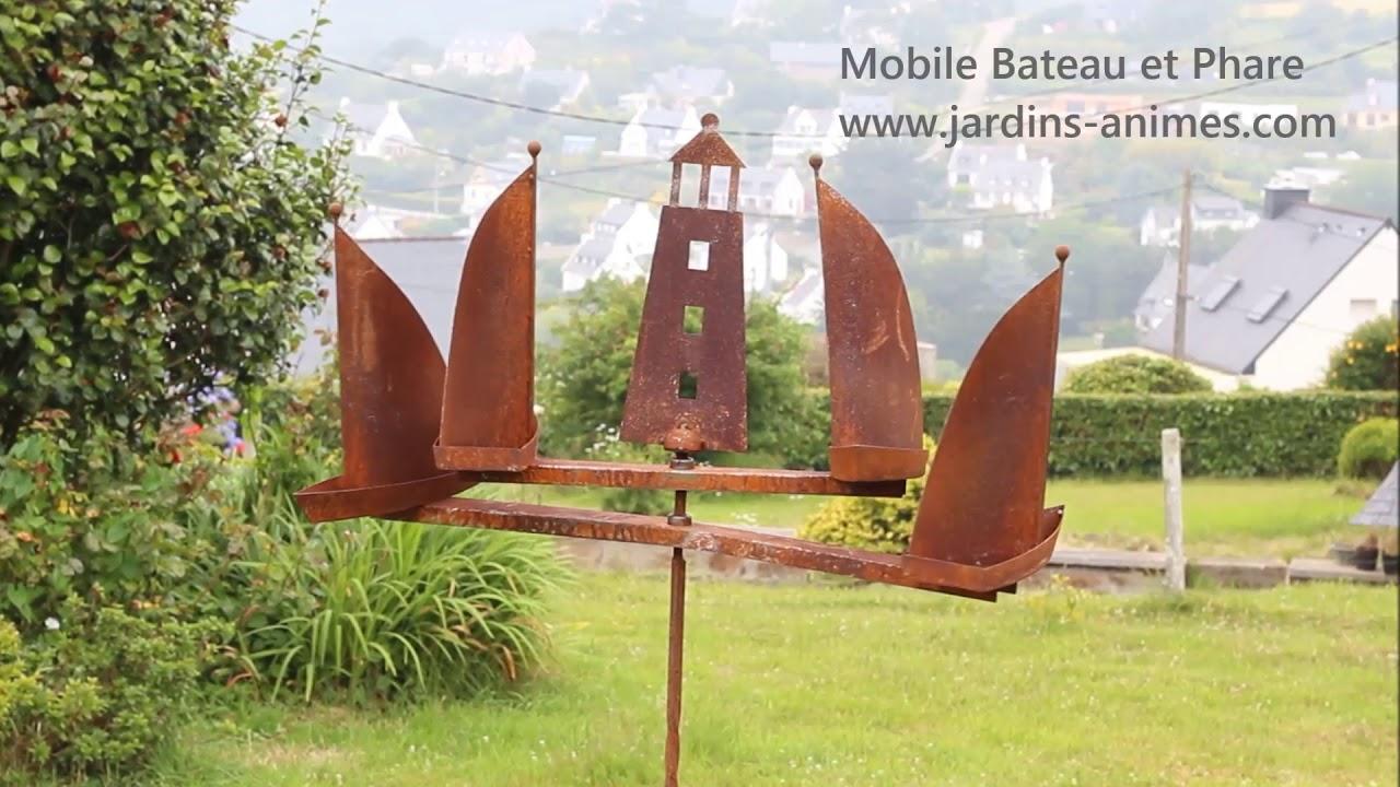 Décoration de jardin Mobile à vent Bateau et Phare