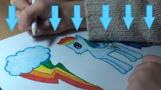 Я рисую пони. Как нарисовать пони Рейнбоу Деш. How to draw a pony Rainbow Dash(Привет всем ! Я люблю рисовать. Посмотрите как рисовать пони Рейнбоу Деш. Все рисуют пони по разному. Я рисую..., 2015-01-04T10:19:57.000Z)
